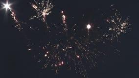 Explotar los fuegos artificiales en cielo de la oscuridad de la noche Muchas chispas iluminaciones Explosión celebración holidays almacen de metraje de vídeo