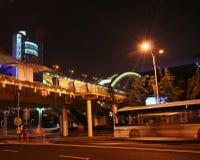 An Expo 2010 Bus Stops Under the Lupu Bridge. Shanghai, China, taken July 20, 2010 Stock Photo