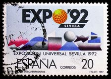 EXPO 92, The Age of Discoveries, serie, circa 1987. MOSCOW, RUSSIA - MARCH 23, 2019: Postage stamp printed in Spain shows EXPO 92, The Age of Discoveries, serie stock photography