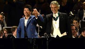 Expo 2015: Andrea Bocelli no concerto Imagens de Stock Royalty Free