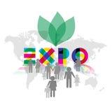 Expo 2015 avec l'illustration d'icônes de visiteurs Image libre de droits