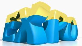 EXPO azul a dourado - vídeo da rendição 3D ilustração do vetor