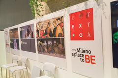 Expo banner at Bit 2015, international tourism exchange in Milan, Italy Royalty Free Stock Images