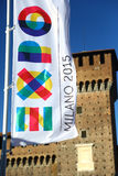 Expo banner in front of Castello Sforzesco, Milan Royalty Free Stock Photos