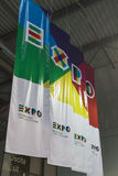 Expo banners at Bit 2015, international tourism exchange in Milan, Italy Royalty Free Stock Photo