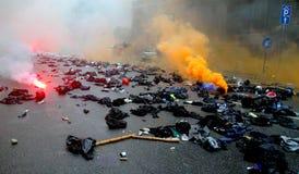 Expo 2015:  Black Blocks cruelty on the streets Stock Photos
