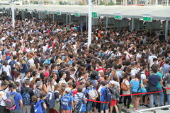 Expo 2015 Crowd. Crowd of visitors outside the Expo gates in Milan, Italy Stock Image