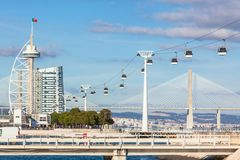 Expo district, Lisbon, Portugal. Cable car in Expo district, Lisbon, Portugal. Horizontal shot royalty free stock image