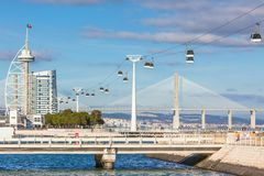 Cable car in Expo district, Lisbon, Portugal Royalty Free Stock Images