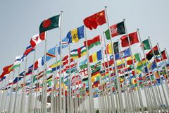 Expo with flags flying near China  Pavilion  Royalty Free Stock Photo