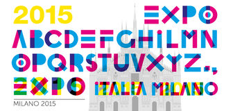 Expo 2015 font. Expo 2015 graphic font, file vector illustration