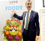 Expo 2015: Giuseppe Sala presents Foody Royalty Free Stock Photo