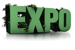 Expo green. 3d ilustration, Expo text and leaves Stock Photo