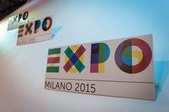 Expo 2015 logo at Bit 2014, international tourism exchange in Milan, Italy. MILAN, ITALY - FEBRUARY 13: Expo 2015 logo at Bit, international tourism exchange Stock Image