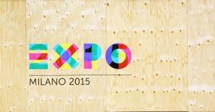 Expo logo on wooden wall Stock Photo