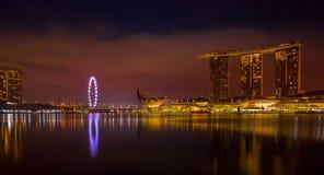 Expo long d'heure d'or de paysage urbain de Singapour image libre de droits