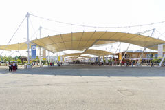 Expo 2015 Milan - Italy. Milan, Italy – 12 August 2015: Start of the 1.5km roofed main street of the Expo 2015, theme: Feeding the Planet, Energy for Life Royalty Free Stock Photos