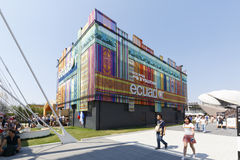Expo 2015 Milan - Italy. Milan, Italy, 12 August 2015: Detail of the Equador pavilion at the exhibition Expo 2015 Italy Stock Images