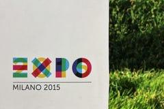 Expo 2015, milan, italy, september 2015, logo panel Royalty Free Stock Photography