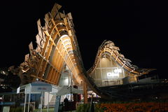 EXPO 2015 Milano - China second pavilion. Two Gauss like curve bell shape wooden structures illuminated from internal side Stock Photos