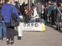 Expo Milano 2015 flags Stock Images