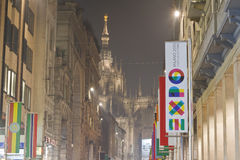 Expo Milano 2015. Universal exposition flag on Corso Vittorio Emanuele in Milan, Italy. The theme of exposition: Feeding the Planet, Energy for Life stock photos