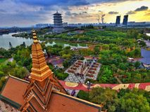 Expo Park landscape in Xi'an china. The Xi'an aerial views of Expo Park, the picturesque beauty of sunset royalty free stock photo