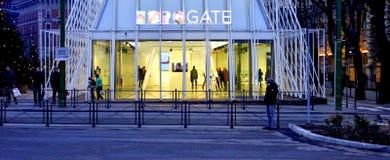 Expo-poort in Milaan 2015, tijdelijke structuur royalty-vrije stock fotografie