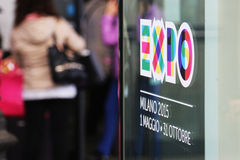 Expo 2015 shop window logo. Original photo expo 2015 shop window royalty free stock photography
