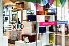 Expo 2015 shop window logo. Original photo expo 2015 shop window Stock Photo
