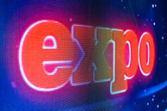 Expo sign at the LED smd screen Stock Photography