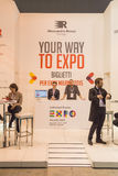 Expo stand at Bit 2015, international tourism exchange in Milan, Italy Stock Photo
