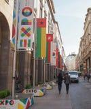 Expo-Tekens in Milaan Stock Fotografie