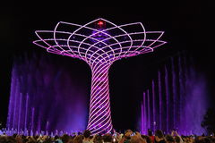 EXPO 2015 - Tree of Life. Albero di vita - Tree of life, light show, water fountain and music concert visitors international italians Royalty Free Stock Image