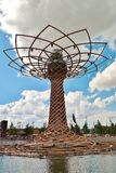 EXPO 2015 - Tree of Life. Albero di vita - Tree of life, water fountain and blue sky and clouds Stock Image