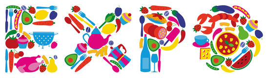 Expo 2015. The word EXPO composed by drawn food to illustrate the Expo Milano 2015 Worlds Fair dedicated to food Stock Images