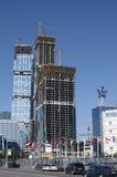 Expocenter and Moscow-city. Expocenter - exhibition center and Moscow-city buisness district under construction. Russia Royalty Free Stock Image