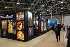 Expocentre, Moskou, Rusland - November 21, 2017 MEBEL 2017 - 29ste Internationaal Tentoonstellings` Meubilair, Montage en Stoffer Stock Foto's