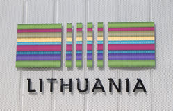 ExpoMilan Italien Litauen paviljong 2015 stock illustrationer