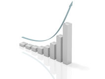 Exponential growth. 3d bar chart of exponential growth rate Stock Image