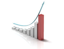 Exponential growth. 3d bar chart of exponential growth rate Stock Photo