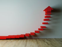 Exponential red arow pointing up 3D render Royalty Free Stock Images