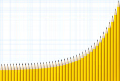 Exponentiale Diagramm-Bleistifte Stockfoto