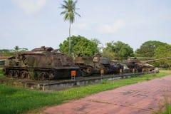 Exponering av fångad amerikansk militär utrustning Ton Vietnam arkivfoto
