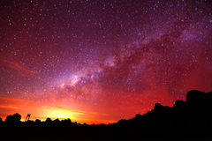 Exponering för natt för Vintergatangalax lång Royaltyfri Fotografi