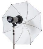 Exponering för studiostrobeljus med paraplyet arkivbilder