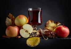 Exponeringsglas av äppelmust eller äppeljuice med saftiga äpplen och kanelbrun sti royaltyfri foto