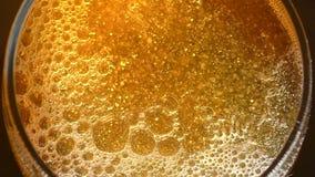 Exponeringsglas av öl med bästa sikt för bubblor stock video