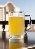 Exponeringsglas av öl med citronen nära havet Arkivfoton