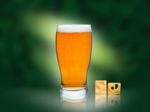 Exponeringsglas av öl med isolerad ost Arkivfoto